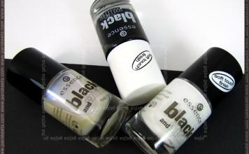 Essence Black and White polishes: Make Me Holo, White Hype, Black Out