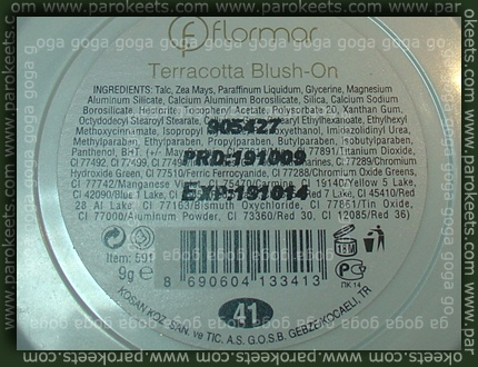 Flormar Terracotta Blush On 41 ingredients
