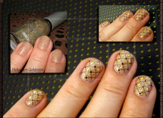 Festive manicure: Magnetic - Hologram Goldime with Konad - IP m79 + Sprinklets Holo Gold