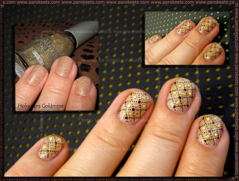 Festive manicure: Magnetic - Hologram Goldime with Konad - IP m79 + Sprinklets Holo Gold