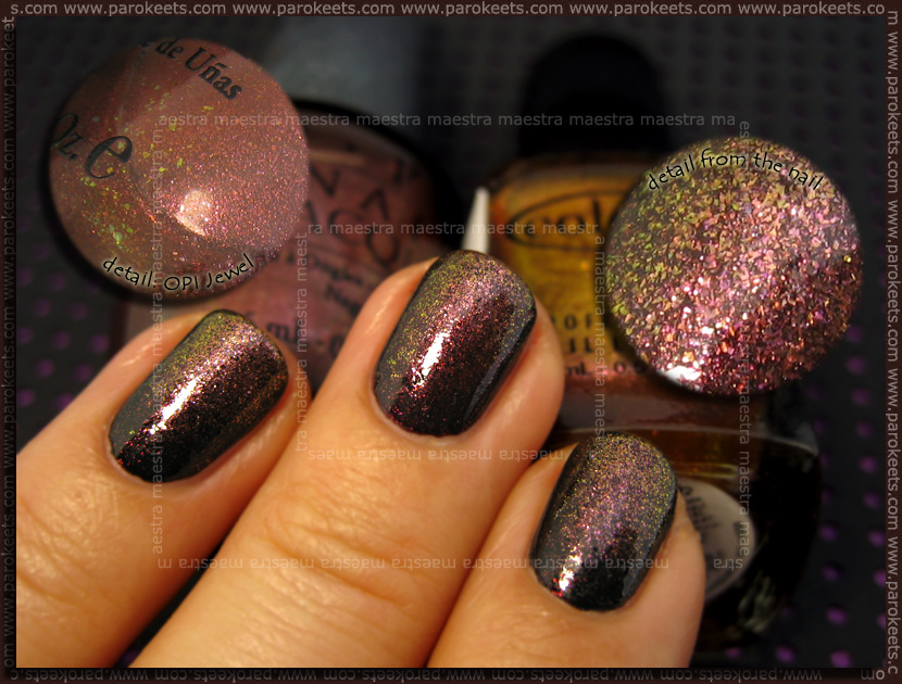 NOTD: OPI Burlesque - Tease-y Does It + DS - Jewel + Color Club - Wild and Willing