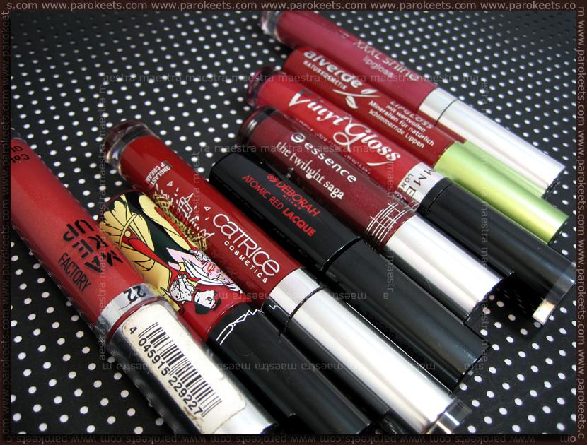 Red lipglosses and lip creams