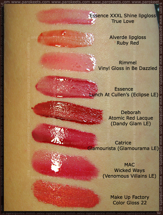 Swatch: Red lipglosses and lip creams