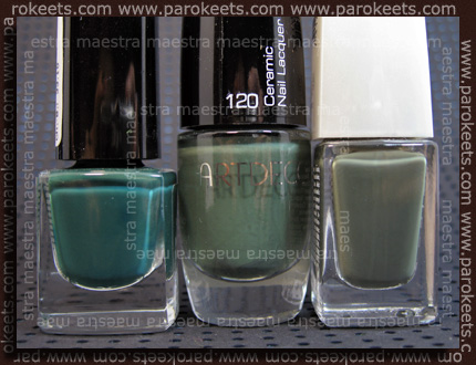 Comparison: ArtDeco - Ceramic Nail Lacquer: 120 vs. IsaDora - In The Army vs. Alessandro - Green Genie
