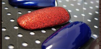Swatches: Barry M: Indigo, Red Glitter, Navy