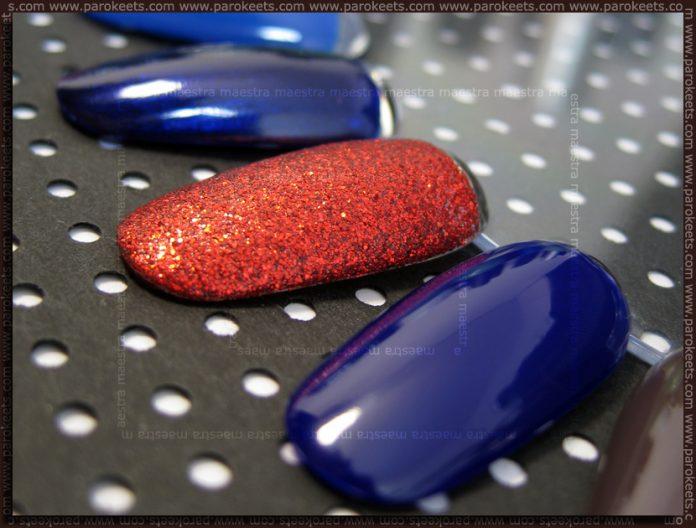 Swatches: Barry M: Indigo, Red Glitter, Navy