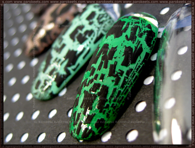 Swatches: Barry M: Spring Green, Mint Green + crackle polish