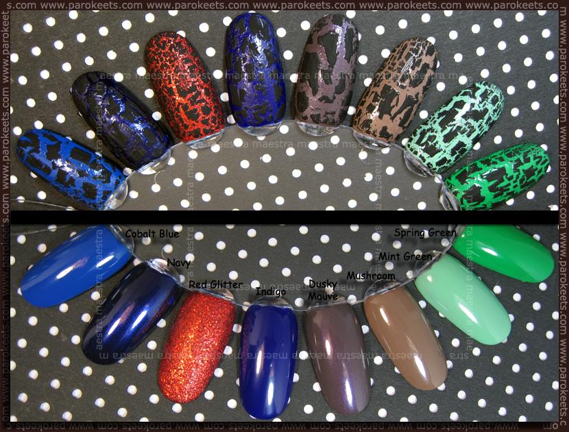 Swatch: Barry M: Spring Green, Mint Green, Mushroom, Dusky Mauve, Indigo, Red Glitter, Navy, Cobalt Blue + crackle polish