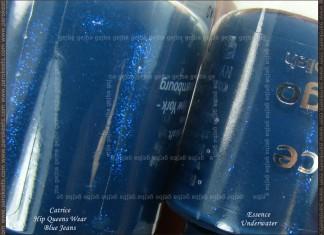 Comparison: Catrice Hip Queens Wear Blue Jeans vs. Essence Underwater bottle