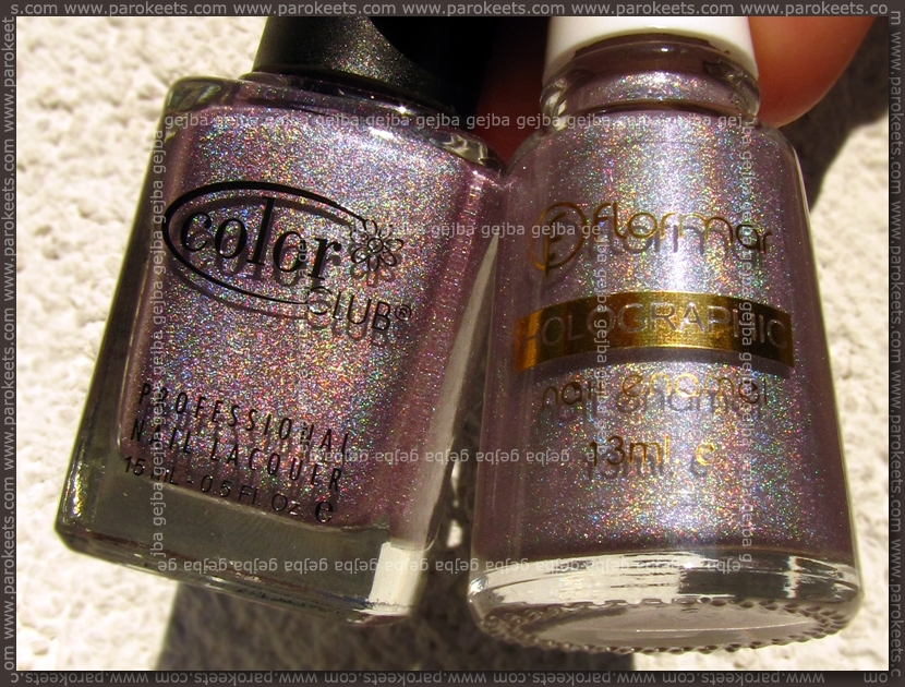 Comparison: Flormar 804 vs. Color Club Fashion Addict bottles
