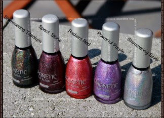 Magnetic holographic nail polishes