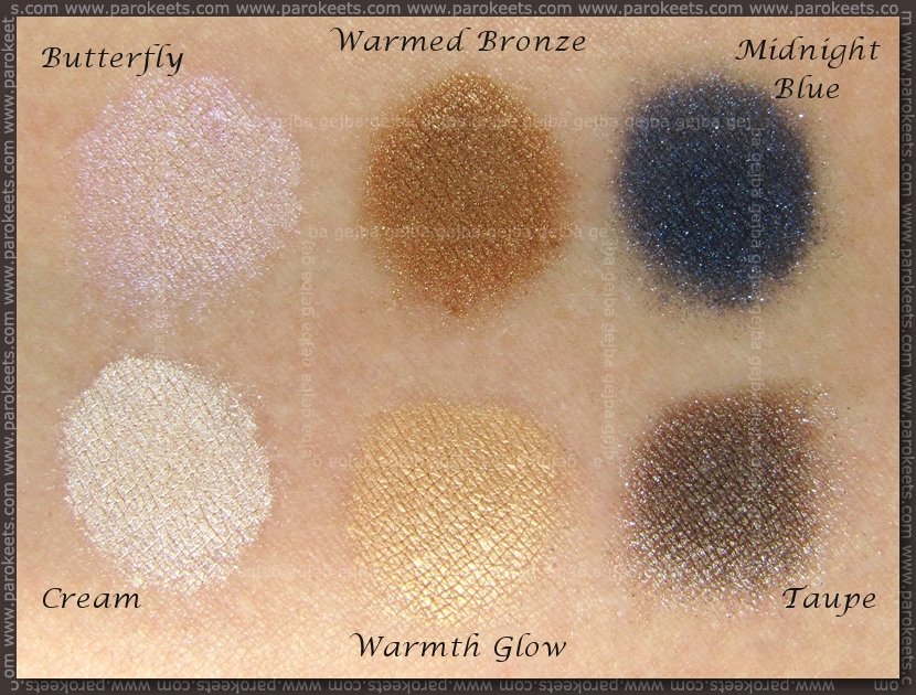 Sweetscents: Cream, Butterfly, Warmth Glow, Warmed Bronze, Taupe, Midnight Blue (lightbox)