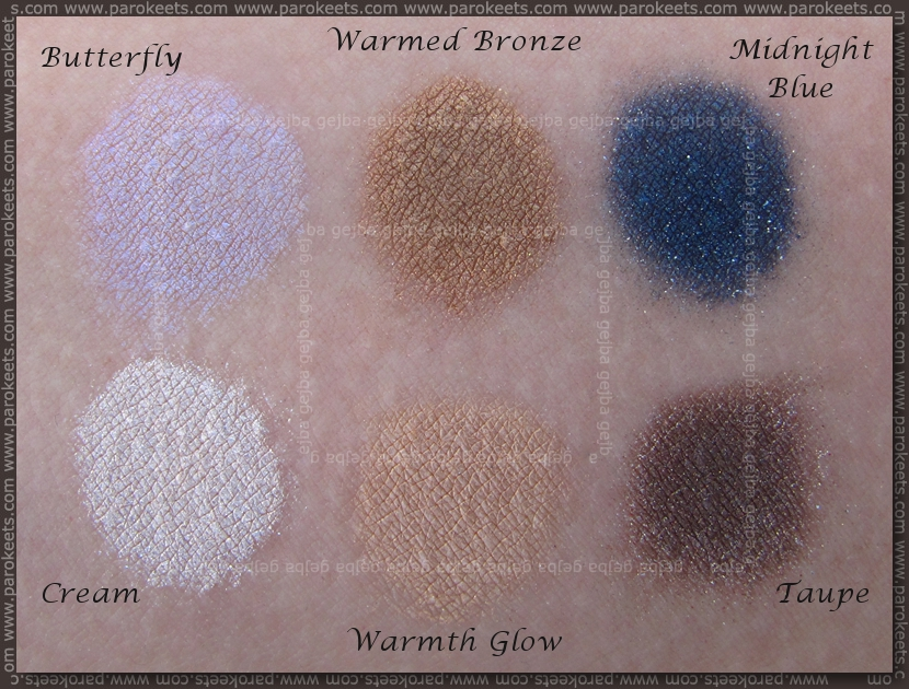 Sweetscents: Cream, Butterfly, Warmth Glow, Warmed Bronze, Taupe, Midnight Blue