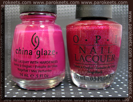 Comparison: China Glaze Anchors Away - Ahoy! vs OPI - Let Me Entertain You