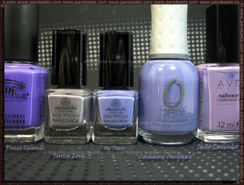 Comparison: Color Club Pucci-licious, Alessandro Turtle Love, On Tour, Orly Cashmere Cardigan, Avon Luxe Lavender by Parokeets