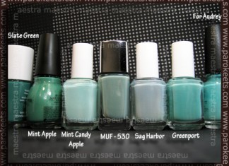 Comparison: Models Own - Slate Green, Sinful Colors - Mint Apple, Essie - Mint Candy Apple, Make Up Factory - 530, Essie - Sag Harbor, Essie - Greenport, China Glaze - For Audrey