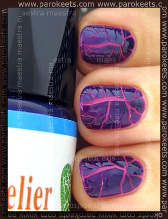 Swatch: Kelier - Nail: Purple cracking nail polish