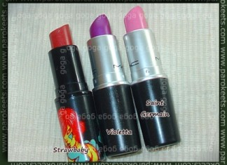 MAC lipsticks: Strawbaby, Violetta, Saint Germain
