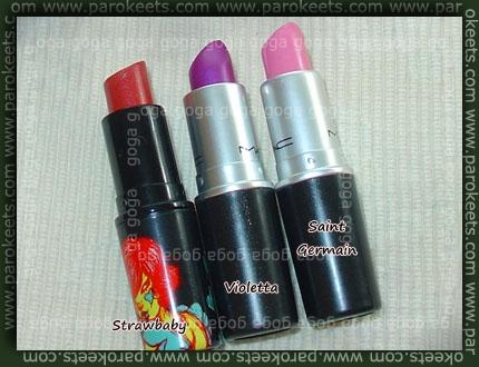 MAC lipsticks: Strawbaby, Violetta, Saint Germain