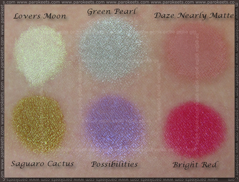 Sweetscent: Lovers Moon, Green Pearl, Daze Nearly Matte, Saguaro Cactus, Possibilities, Bright Red