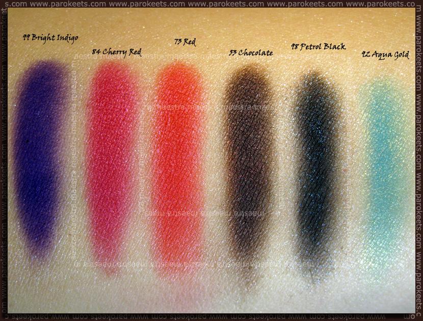 Swatch: Barry M - Dazzle Dust: Bright Indigo, Cherry Red, Red, Chocolate, Petrol Black, Aqua Gold