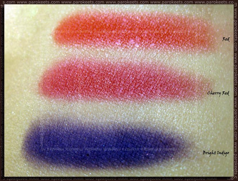 Swatch: Barry M - Dazzle Dust: Bright Indigo, Cherry Red, Red