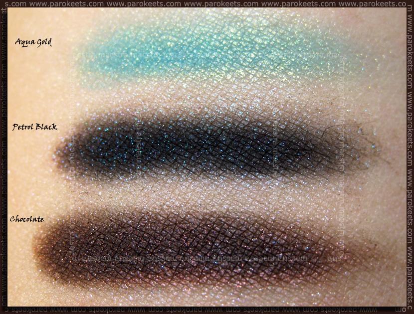 Swatch: Barry M - Dazzle Dust: Chocolate, Petrol Black, Aqua Gold