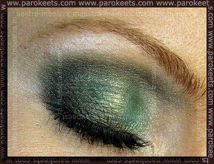 Barry M - Dazzle Dust: Aqua Gold and Petrol Black make up by Maestra