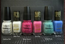 Comparison: Barry M - Instant Nail Effects: White Frost, Pink Fizz, Blue Print vs. China Glaze - Lightning Bolt, Broken Hearted, Crushed Candy