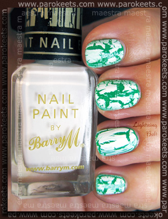 Comparison: Barry M - Instant Nail Effects: White Frost 316 vs. China Glaze - Lightning Bolt