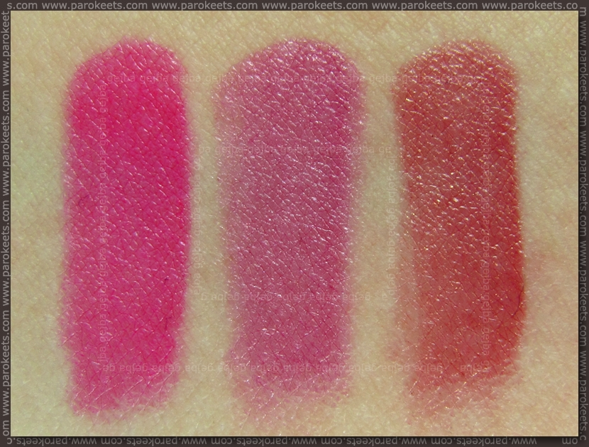Catrice Ultimate Colour lipstick: Pinker-bell, Lovely Lilac, Ginger&Fred swatch by Parokeets