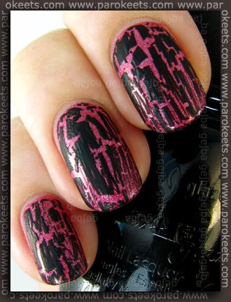 China Glaze: Crackle Glaze - Black Mesh over Magnetic - Radiant Red by Parokeets