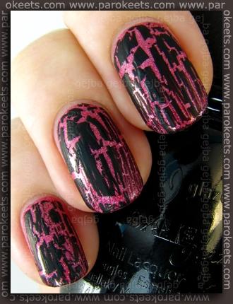 China Glaze: Crackle Glaze - Black Mesh over Magnetic - Radiant Red by Parokeets