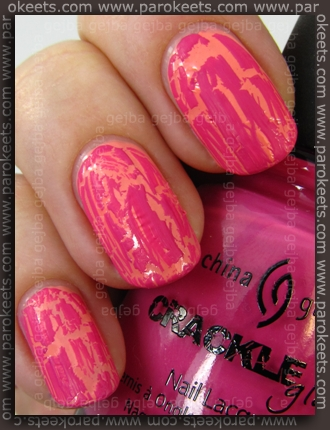 China Glaze: Crackle Glaze - Broken Hearted over Alessandro Cheeky Devil by Parokeets