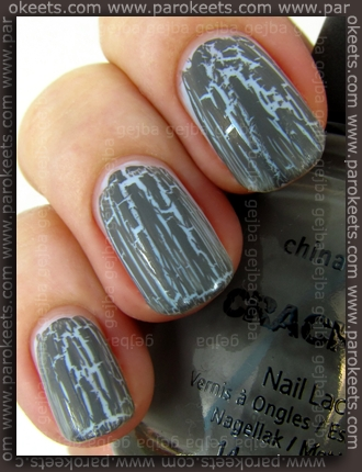 China Glaze: Crackle Glaze - Cracked Concrete over p2 - Being In Heaven by Parokeets