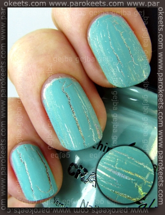 China Glaze: Crackle Glaze - Crushed Candy over Nfu-Oh 66 by Parokeets