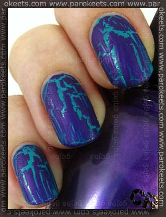 China Glaze: Crackle Glaze - Fault Line over Bipa Nail Quickie - Petrol by Parokeets