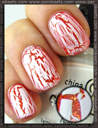 China Glaze: Crackle Glaze - Lightning Bolt over Orange Marmalade by Parokeets