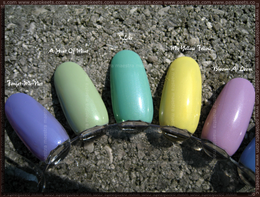 Swatch: Essence - Blossoms etc.: Forget-Me-Not, A Hint Of Mint, I Like, My Yellow Fellow, Bloom-A-Loom