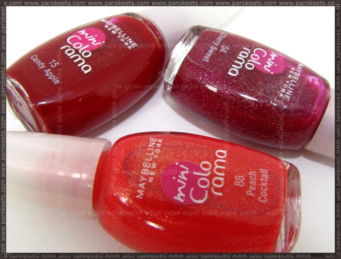 Maybelline mini Colorama: Candy Apple, Cherry Sweet, Peach Cocktail bottles