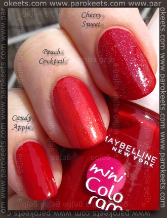 Maybelline mini Colorama: Candy Apple, Cherry Sweet, Peach Cocktail layering