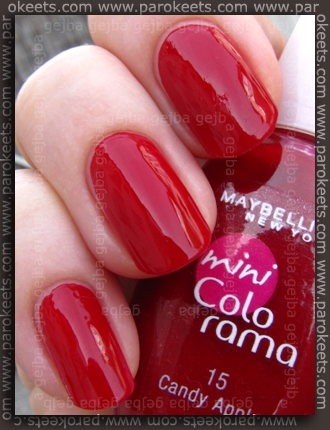 Maybelline mini Colorama: Candy Apple swatch by Parokeets