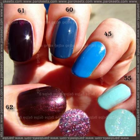 Alessandro nail polish: 62, 61, 60, 45, 55 swatch