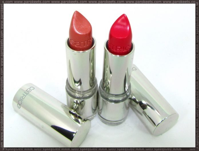Catrice Ultimate Shine lipstick: Corallicious Pink and Berry Pink swatch