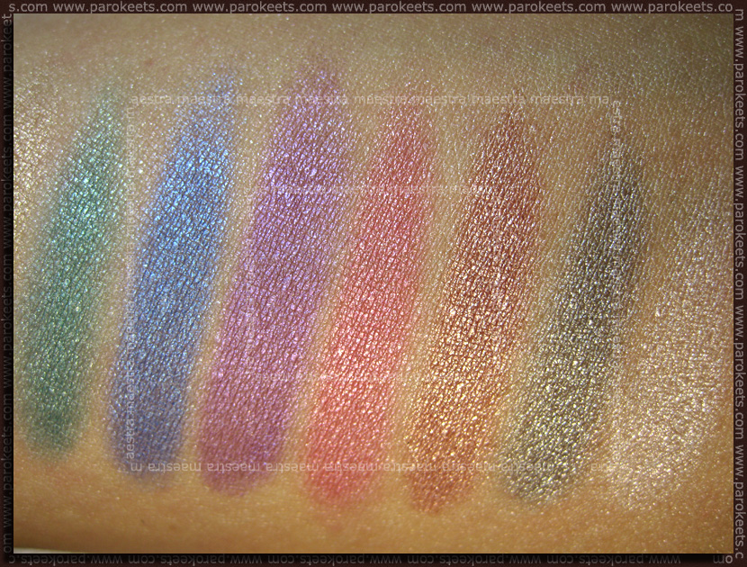 Swatch: NYX Ultra Pearl Mania: Turquoise, Space, Purple, Very Pink Pearl, Sky Pink, Silver, White