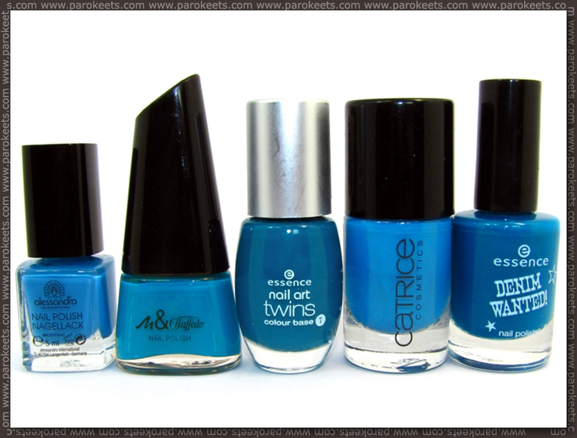 Comparison: Alessandro Turquoise Ocean, Manhattan 78J, Essence Bonnie, Catrice Blue Cara Ciao, Essence Forever Mine