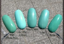Comparison: Essence Chasing Waves, Catrice Am I Blue Or Green, Essence Kings Of Mints, I Like, Replay