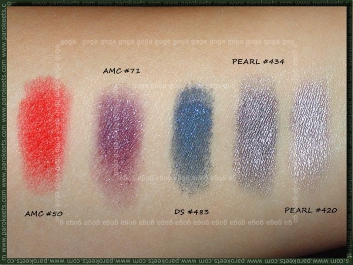 Inglot palette swatch - first row