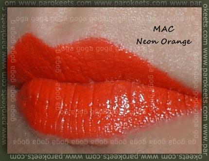 MAC lipstick Neon Orange swatch