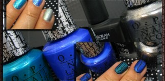 Swatch: OPI - Blue Shatter, Turquoise Shatter, Silver Shatter over Deborah - 01 100% Mat and CQ - Gem Green